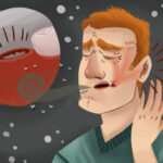 Cartoon image of a man with dry socket after a tooth extraction in Katy, TX